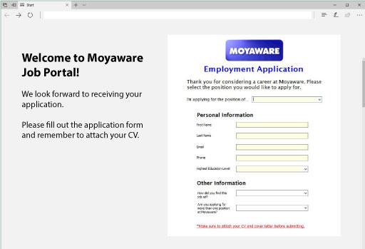 Sample web form for importing information